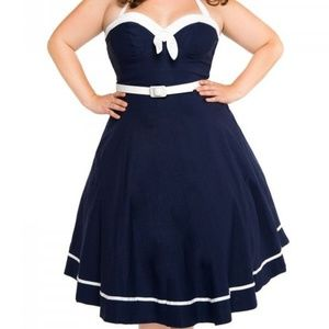 Sailor nautical blue swing dress Medium